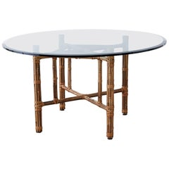 McGuire Organic Modern Bamboo Rattan Round Dining Table