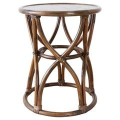McGuire Organic Modern Bamboo Rattan Round Drink Table