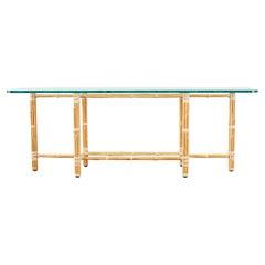 McGuire Organic Modern Blonde Bamboo Rattan Console Table