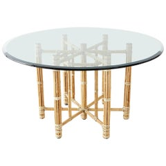 McGuire Organic Modern Blonde Bamboo Rattan Dining Table