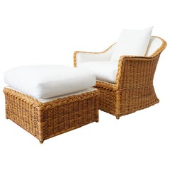 McGuire Organic Modern Rattan Lounge Chair and Ottoman