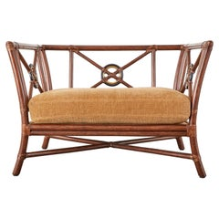 McGuire Organic Modern Rattan Target Lounge Cube Chair
