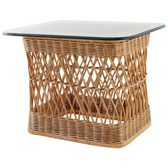 McGuire Organic Modern Rattan Wicker Coffee Cocktail Table
