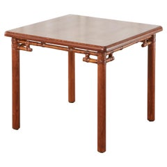 McGuire Organic Modern Square Oak Rattan Dining Table