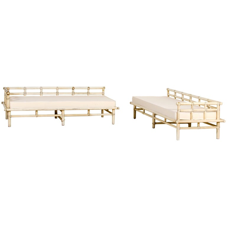 McGuire, Pair of Sofas, Lacquered Bamboo, Italy, circa 1960 For Sale