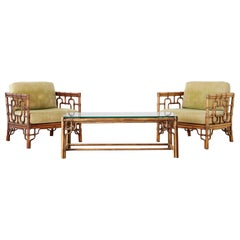 McGuire Rattan Cube Chairs and Table Living Room Suite