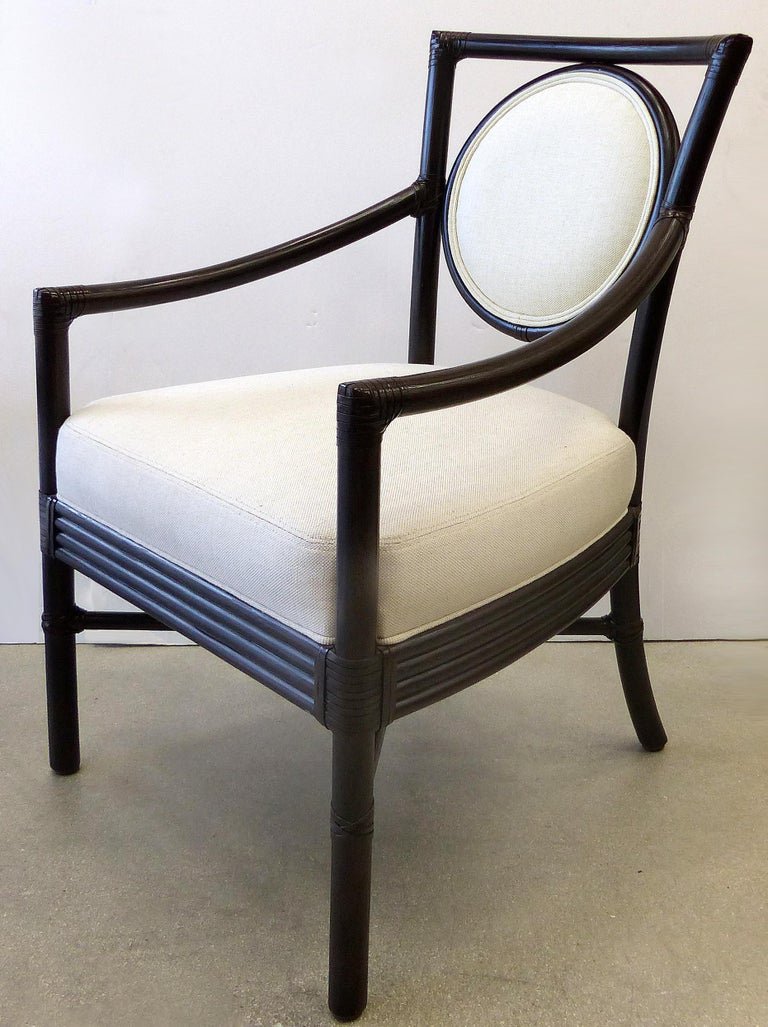 American McGuire Rattan Dining Chairs with Leather Bindings in Linen Upholstery, Set of 6 For Sale