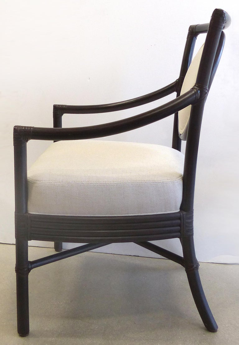 McGuire Rattan Dining Chairs with Leather Bindings in Linen Upholstery, Set of 6 In Good Condition For Sale In Miami, FL