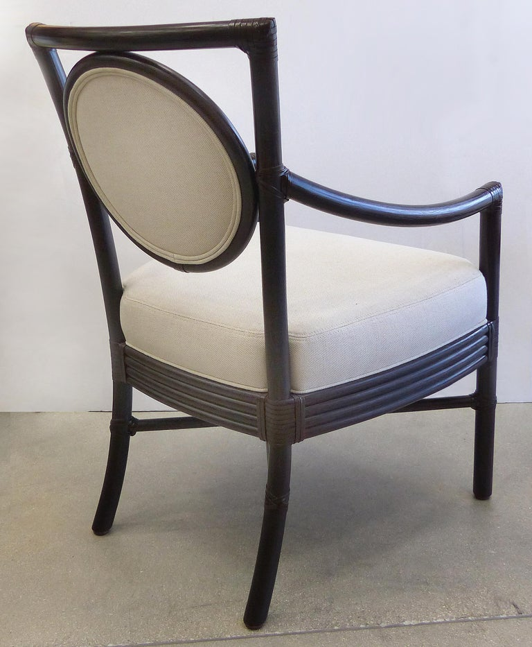 Contemporary McGuire Rattan Dining Chairs with Leather Bindings in Linen Upholstery, Set of 6 For Sale