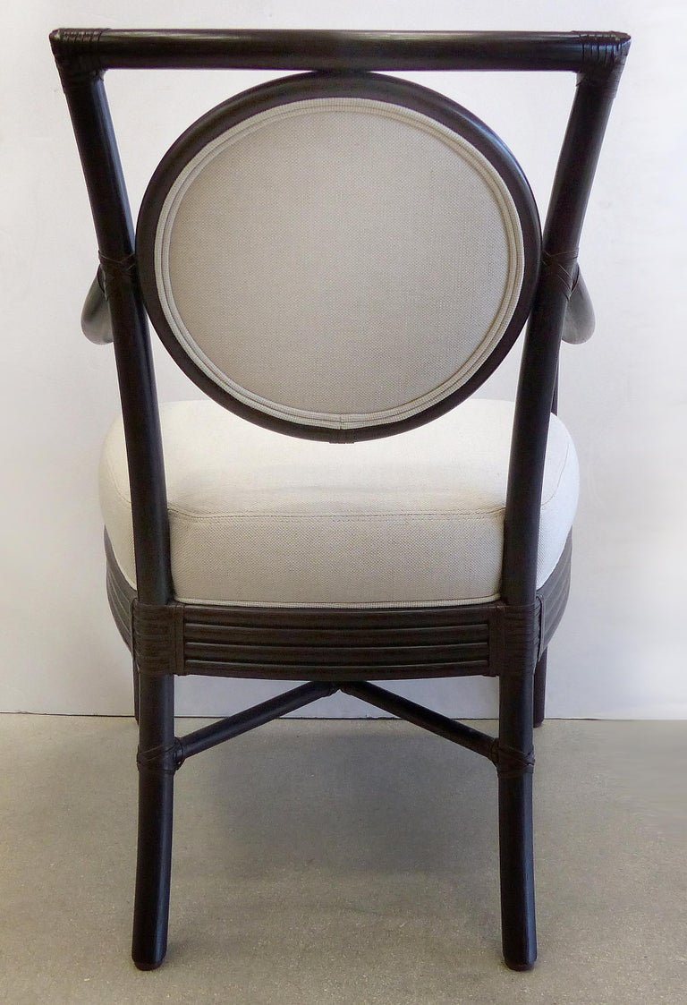 McGuire Rattan Dining Chairs with Leather Bindings in Linen Upholstery, Set of 6 For Sale 1