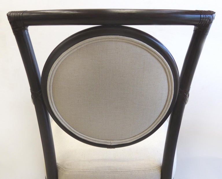 McGuire Rattan Dining Chairs with Leather Bindings in Linen Upholstery, Set of 6 For Sale 3