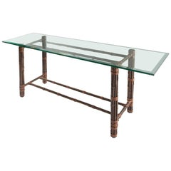 McGuire Rattan and Glass Console Table