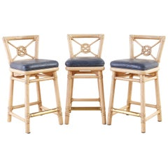 McGuire Rattan Leather Target Design Counter Barstools