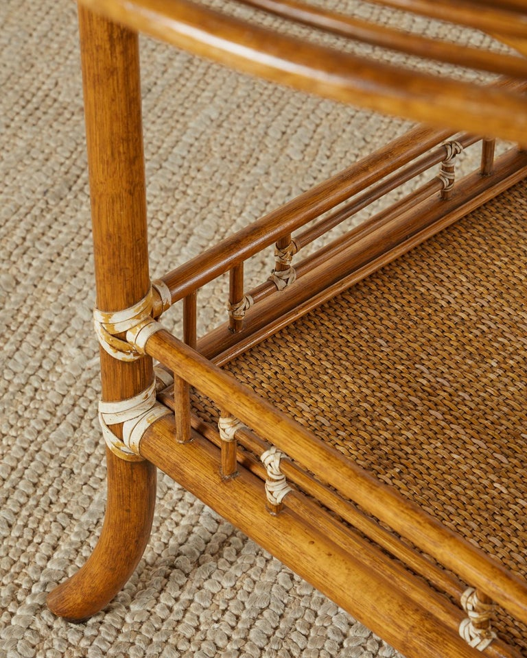 Hand-Crafted McGuire Rattan Raffia Round Occasional or Centre Table
