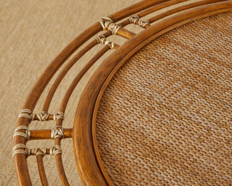 Leather McGuire Rattan Raffia Round Occasional or Centre Table