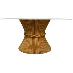 McGuire Rattan Sheaf of Wheat Dining Table