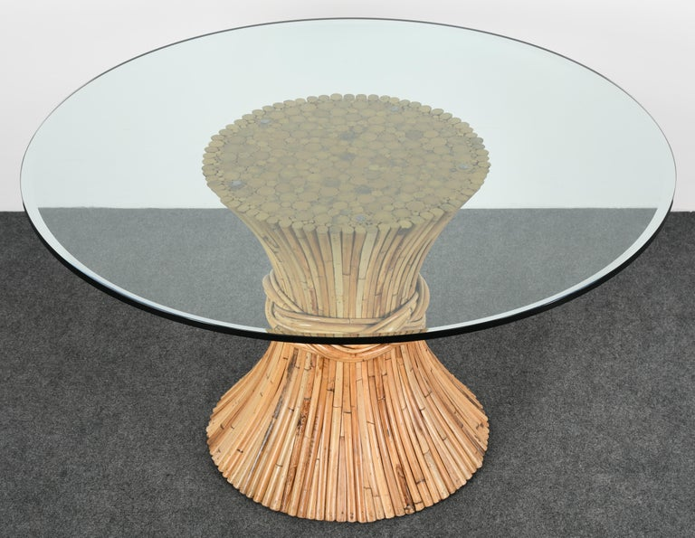 Mid Century Modern Mcguire Round Bamboo Dining Table 1980s For