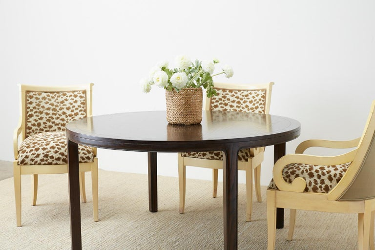 Hand-Crafted McGuire Round Cerused Oak Dining or Centre Table For Sale