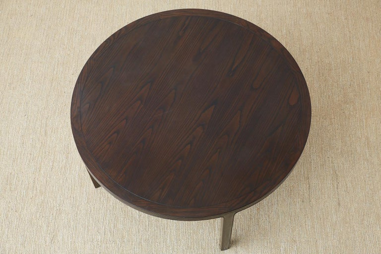 McGuire Round Cerused Oak Dining or Centre Table For Sale 1