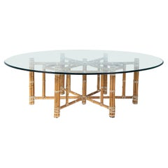 McGuire San Francisco Bamboo & Leather Dining Table