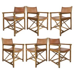 McGuire San Francisco Campaign Dining Chairs with Caned Backs, Set of Six