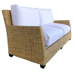 McGuire San Francisco Rattan Sofa Newly Upholstered Linen Cushions