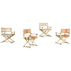 McGuire, Set of Four Armchairs, Lacquered Bamboo, circa 1960, Italy
