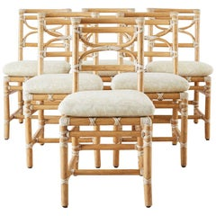 McGuire Set of Six Organic Modern Rattan Dining Chairs