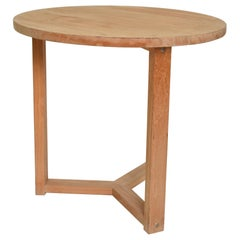 McGuire Simple Teak Round Side Table Triangular Base San Francisco CA, 1990s