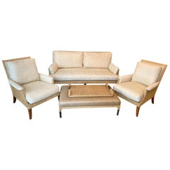 McGuire Sofa, Pair of Chairs, Ottoman, and Tray