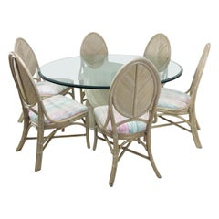 McGuire Split Bamboo Spiral Base Table with Set of 8 Dining Chairs
