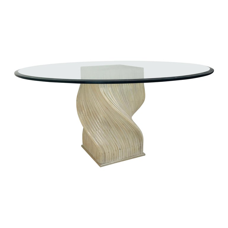 """McGuire Split Bamboo """"Spiral"""" Table with Glass Top For Sale"""