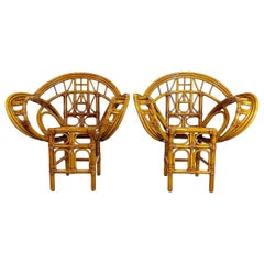 McGuire Style Bamboo Butterfly Chairs, a Pair