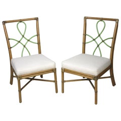 McGuire Style Bamboo Side Chairs Diamond Ribbon Back