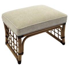 McGuire Style Chenille Upholstered Rattan Stool Ottoman