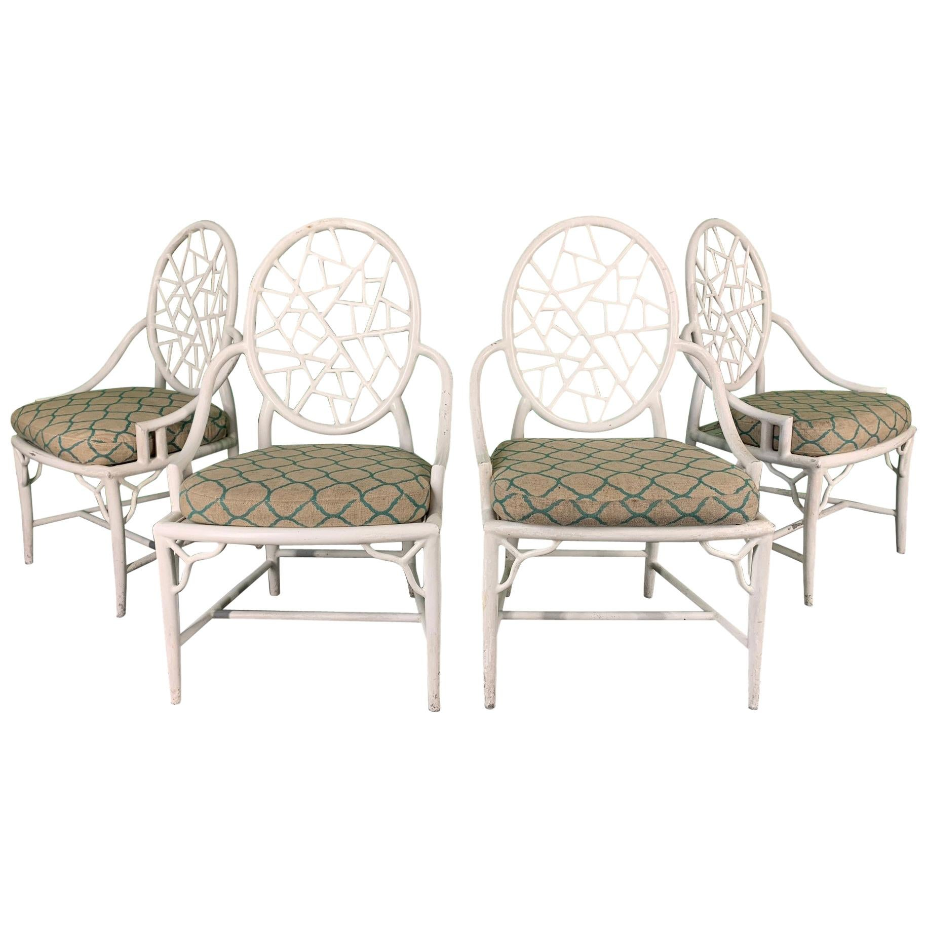 225 & McGuire Style Cracked Ice Metal Dining Chairs