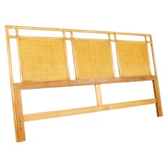 McGuire Style Mid Century Bamboo and Rattan Blonde King Headboard