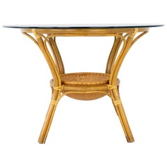McGuire Style Mid Century Bamboo Rattan and Glass Dining Table