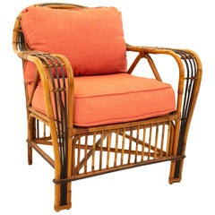 McGuire Style Mid Century Bamboo Rattan Lounge Chair