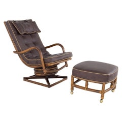 Mcguire Style Mid Century Bamboo Reclining Swivel Lounge Chair and Ottoman