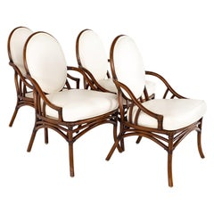 McGuire Style Mid Century Rattan Dining Chairs - Set of 4