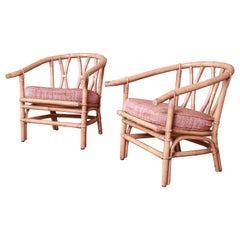 McGuire Style Organic Modern Bamboo Rattan Lounge Chairs, Pair