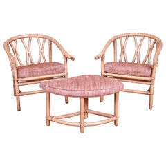 McGuire Style Organic Modern Bamboo Rattan Lounge Chairs with Ottoman