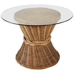 McGuire Style Organic Modern Rattan Breakfast Dining Table