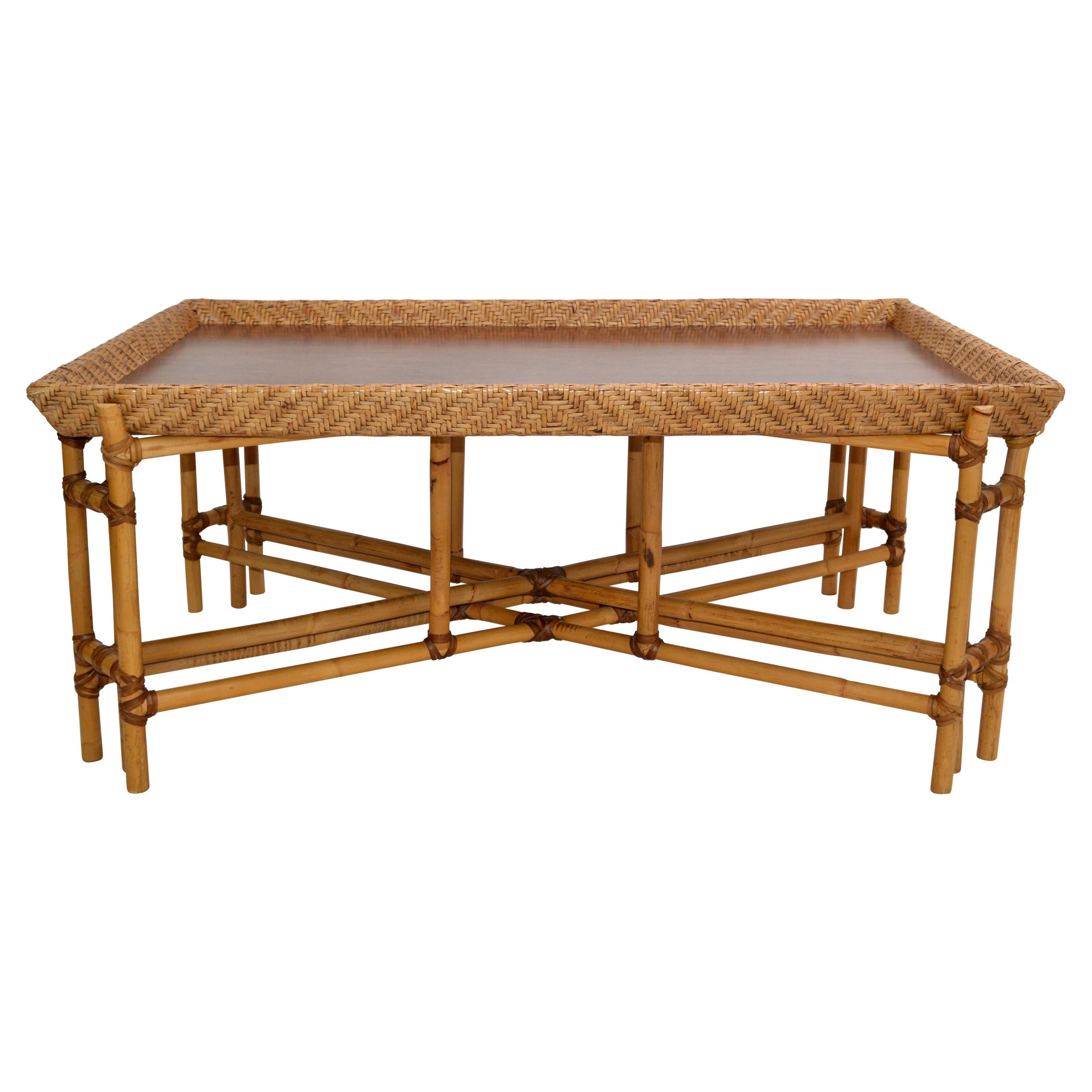 McGuire Style Rectangular Bamboo Wood Mid-Century Modern Tray Table American 80s