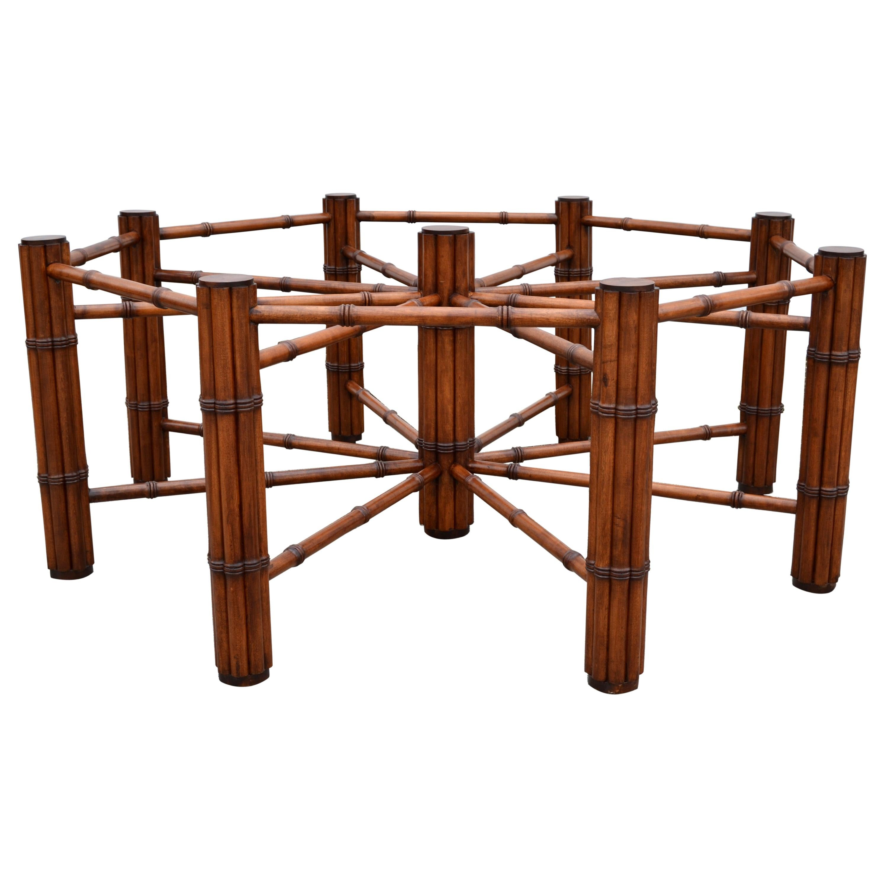 McGuire Style Round Faux Bamboo Wood Mid-Century Modern Dining Table American