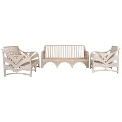 McGuire Style Three Piece Rattan Patio Set, 1980s