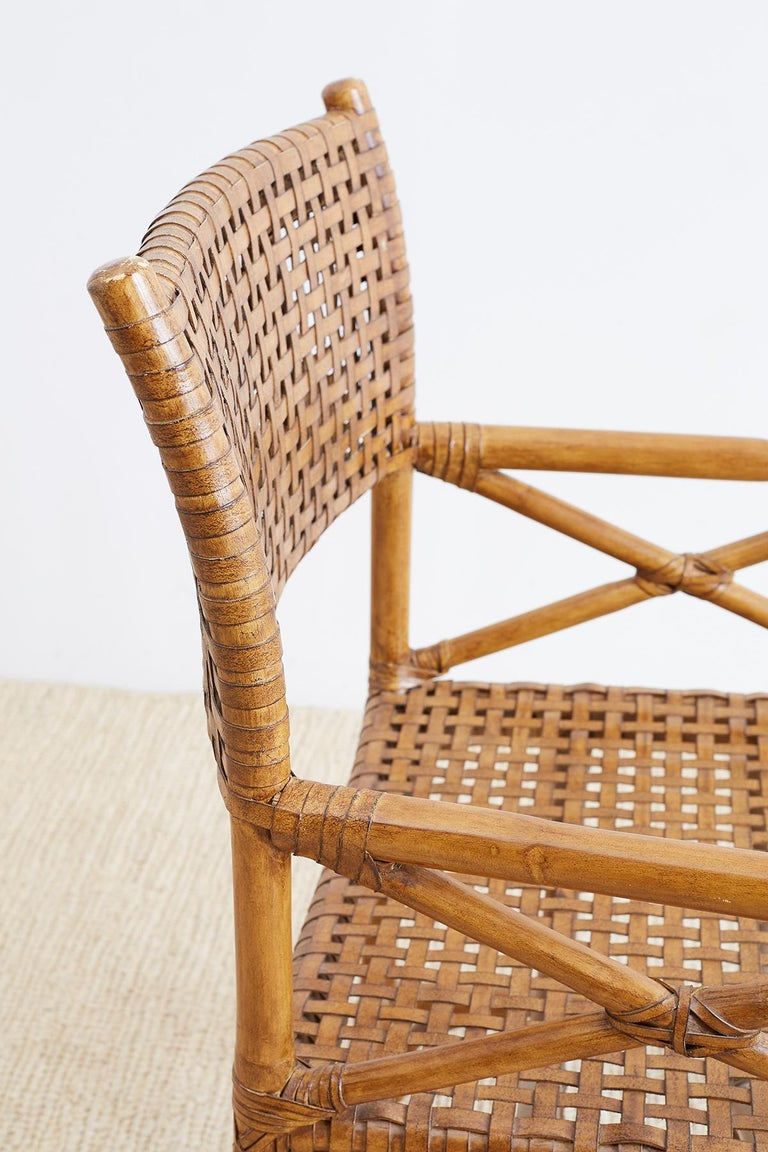 Mcguire Style Woven Leather Rattan Dining Chairs For Sale