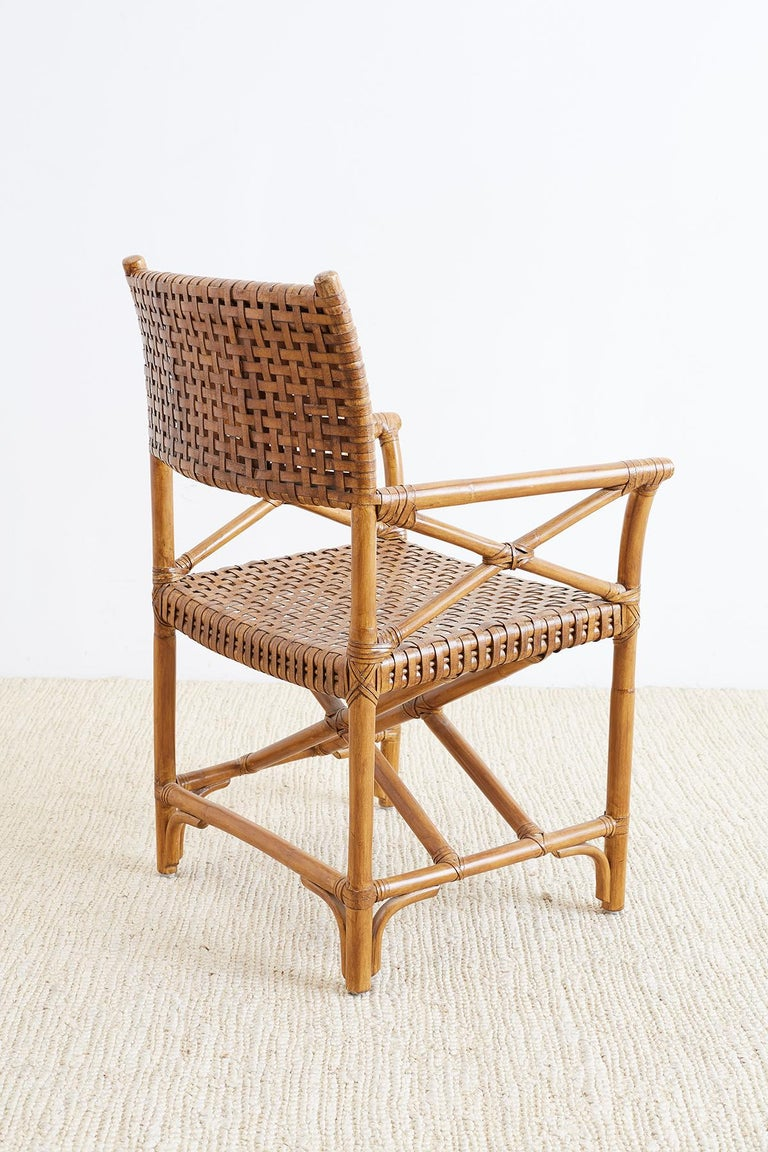 Mcguire Style Woven Leather Rattan Dining Chairs At 1stdibs