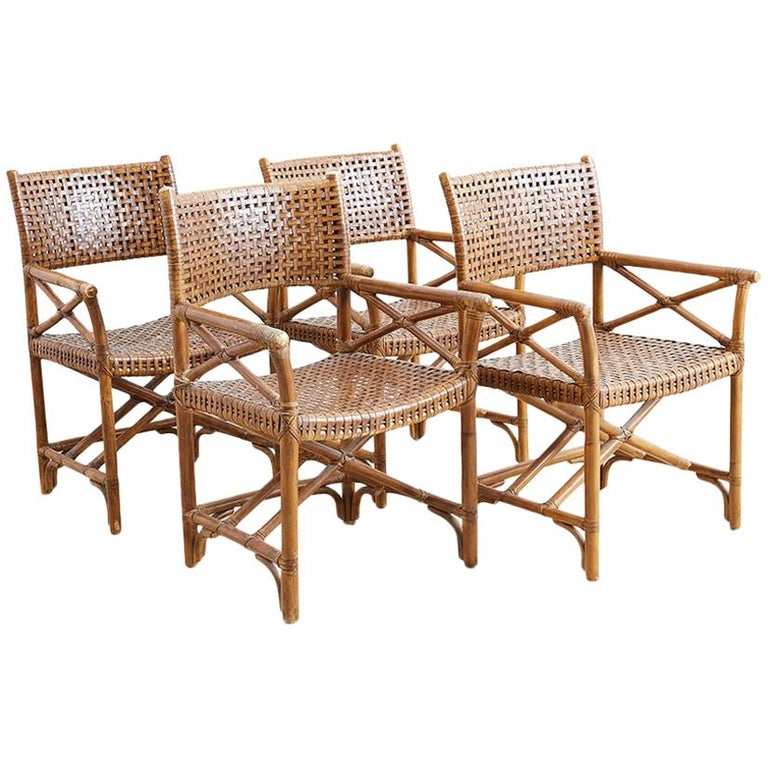 Astounding Mcguire Style Woven Leather Rattan Dining Chairs At 1Stdibs Gmtry Best Dining Table And Chair Ideas Images Gmtryco
